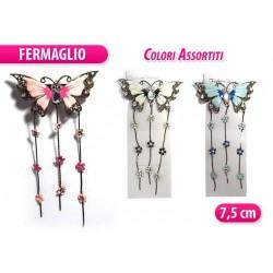 FERMAGLIO METALLO FARFALLA CON STRASS